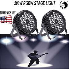 U`king 2PCS 200W 18 LEDs RGBW Stage Light Rainbow Effect DMX Concert Party Show