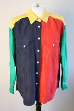 a0120944c85767 Vintage 90s LizWear S 100% Silk Primary Color Block Button Front Top Blouse