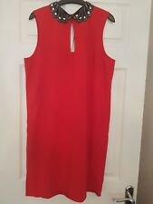 NEW Next Dress Size 14 Red  Silver Embellished Collar LRD