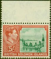 Solomon Islands 1939 5s Emerald-Green & Scarlet SG71 Fine MNH