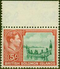 More details for solomon islands 1939 5s emerald-green & scarlet sg71 fine mnh