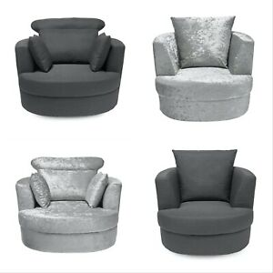 BLISS SNUG SWIVEL CHAIRS - LARGE OR SMALL - CRUSHED SILVER VELVET, GREY LINEN