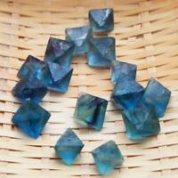 Natural Clear Blue Fluorite Crystal point octahedron Rough Specimens Lot c CA