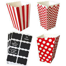 24 Red Paper Popcorn Treat Boxes with Vinyl Chalkboard Labels