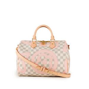 LOUIS VUITTON Speedy 30 Bandouliere Tahitienne Damier Azur Rose Ballerine Bag