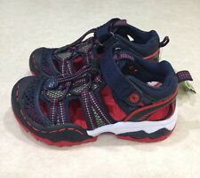 "JambuKD ""Piranha4H"" Big Kid Boy's Navy/Red Fisherman Sandals~~Size 1M"