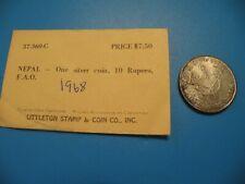 1968 NEPAL King Mahendra Bir Bikram 10 Rupee LARGE Silver Nepalese Coin O6