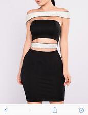 Brand New Sold Out Fashion nova Elegant black Crystal  Rhinestone dress XS