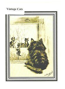Nostalgic vintage Cat greeting card.1911 image by Oliver Herford. blank inside
