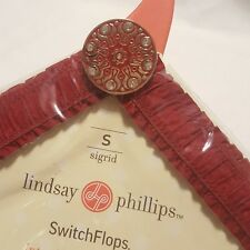 Lindsay Phillips Switchflops Dark Red Jeweled Ruffled Straps SIZE SMALL A2-12