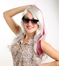 White RED wig Vampire Costume cosplay wigs Long mermaid Curly Highlight Hair