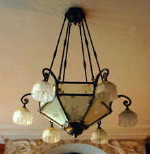 Antique French ART DECO 1930 Bronze Glass crystal cut chandlier 7 light