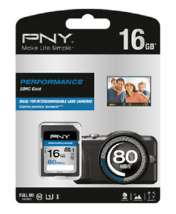 PNY 16GB High Speed SDHC SD Card Class 10 UHS-I Memory Card 80MB/S For Camera