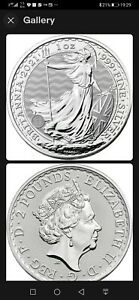 2021 Silver Britannia 1 oz Silver Bullion Coin in Brand New Coin Capsule