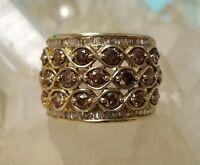 Ladies 10K Yellow Gold, Chocolate Diamond & White Baguette Diamonds Size 7 Ring!