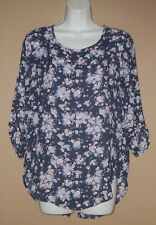 Womens Size Small Long 3/4 Sleeve Floral Casual Fall Roll Tab Blouse Top Shirt