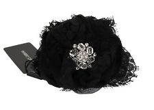 NEW $560 DOLCE & GABBANA Hair Claw Black Floral Lace Crystal Runway Accessory