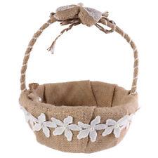 Rustic Burlap Jute Bow Flower Girl Basket for Wedding Party Decoration