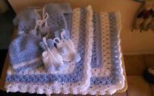 HAND CROCHET baby blanket set boys HELP A CANCER SURVIVOR!