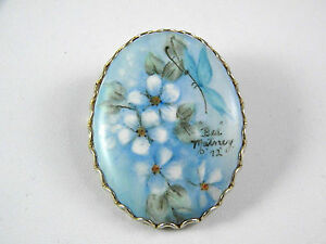 Blue Flower and Butterfly Hand Painted Pin Vintage Jewelry