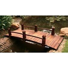 Wooden Classic Arch Bridge Garden Feature with Rails