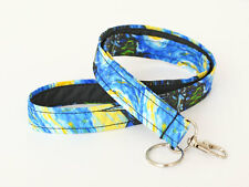 Van Gogh Lanyard Cute Fabric Badge Holder Women's ID Strap - starry night blue