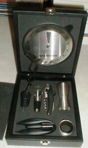 NEW Crate & Barrel 8-piece Bar Gadget Tool Set in Black Wooden Case