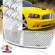 For 2006-2010 Dodge Charger LX {3D WAVE MESH} Glossy Chrome Bumper Grille Grill