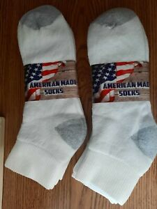 Sport Series Made In USA Men's  Ankle Socks Six Pairs Size  13 -15 Cotton Blend