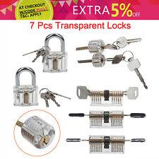 7 PCS Pick Cutaway Visable Padlock Lock Locksmith Practice Training Skill Set bk