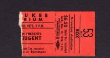 Original 1976 Ted Nugent concert ticket stub Milwaukee WI Free For All Tour