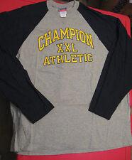 Mens-Size-XL-Shirt-Baseball-Style-Champion-Blue-Long-Sleeves-Athletic-Cotton