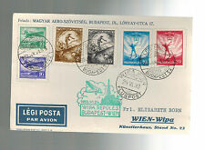 1933 Hungary WIPA to Austria Postcard  Airmail  Cover with # C 26 to C31