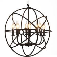 6 Heads Industrial Round Chandelier Light Pendant Ceiling Globe Fixture Lighting