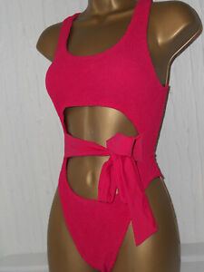 SEXY PINK ASOS STRETCHY CUT OUT BELT LOW BACK SWIMSUIT ONE SIZE SWIMWEAR