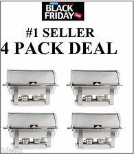 4 PACK FULL KIT 8 QT DELUXE ROLL TOP Chafer Stainless Chafing Dish FREE SHIP