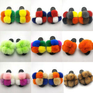 Women Fur Slides Slippers Real Whole Fox Fur Pom Pom Home Slides Flat Sole Soft