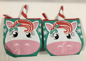 Thirty One COOL ZIP SNACKER Bag - Holiday Christmas Unicorn Snack Pouch lot/2