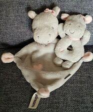 Schmusetuch Nilpferd babydrem Rossmann + Rassel unbekuschelt neuwertig