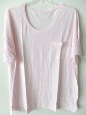 Old Navy Womens XXL Tall 2XT Pink Linen Poly Short Sleeved Scoop Neck Shirt Top