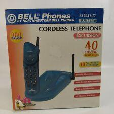 Vintage Bell Phones Cordless Telephone Blueberry Excursion Transparent Blue 90's
