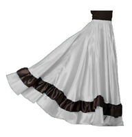 SILVER Satin Full Circle 12 Yard 2 Ruffle Flamenco Skirt Gypsy Belly Dance Jupe