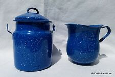 VTG Blue Speckled Enamelware Cream Pitcher&Small Milk Butter Pail w/Lid NO HANDL