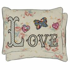 FILLED EMBROIDERED LOVE FLORAL BUTTERFLY HEART POLKA DOT PIPED CUSHION 20CMX25CM