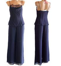 Completo pantalone e top Marella 40 blu donna canotta made italy