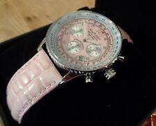 Ladies Pink Krug-baumen Air Traveller Pilots Diamond Chrono Watch 400515DS