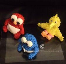 6 edible Fondant Name Age Elmo Big Bird Ernie Cookie Monster Cup Cake Topper SET