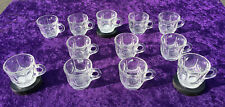 Vintage Tea Cup 12 Piece Clear Glass Transparent Durable With Handle