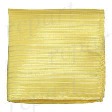 New Men's Pocket Square Hankie Handkerchief yellow Silver stripes striped formal