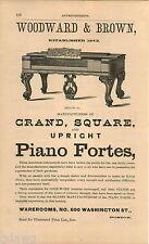 1876 ADVERT Woodward & Brown Grand Aquar Pianos Upright Fortes 690 Washington St